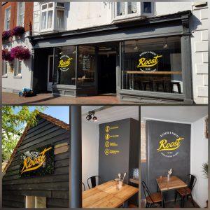 Roost restaurant vinyl graphics
