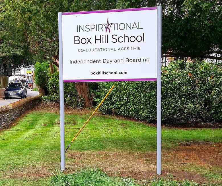 Box Hill School in Surrey main entrance Dibond SIgn