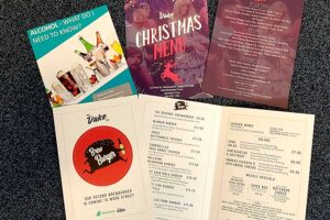 Menus and business statioery printed by Bluedot Display