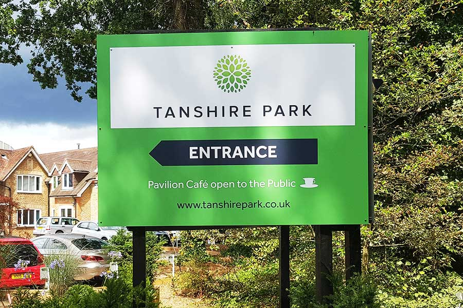 Dibond sign created by Bluedot Display for Tanshire Park in Godalming Surrey