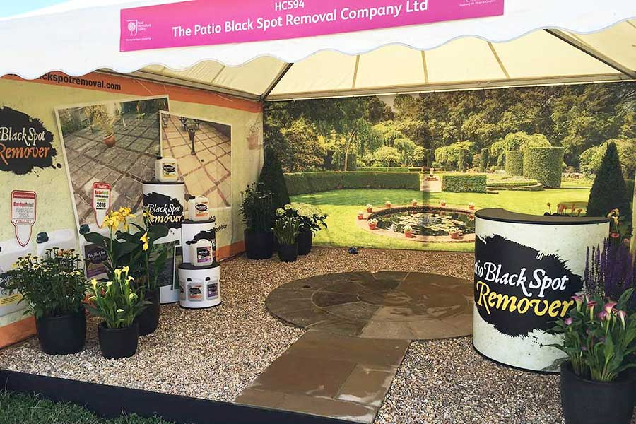 Exhibition graphics and pop-up stands by Bluedot Display for Black Spot Remover