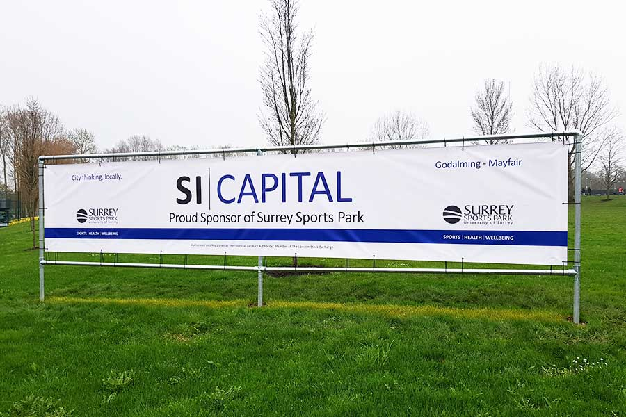 PVC banner at the Surrey Sports Park for SI Capital by Bluedot Display