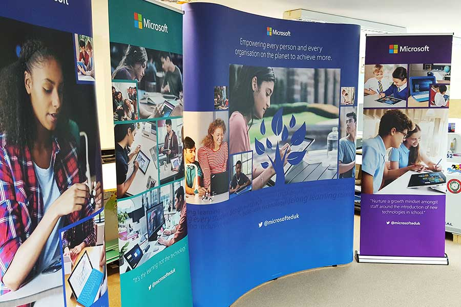 Pop-up exhibition stands for Microsoft printed by Bluedot Display