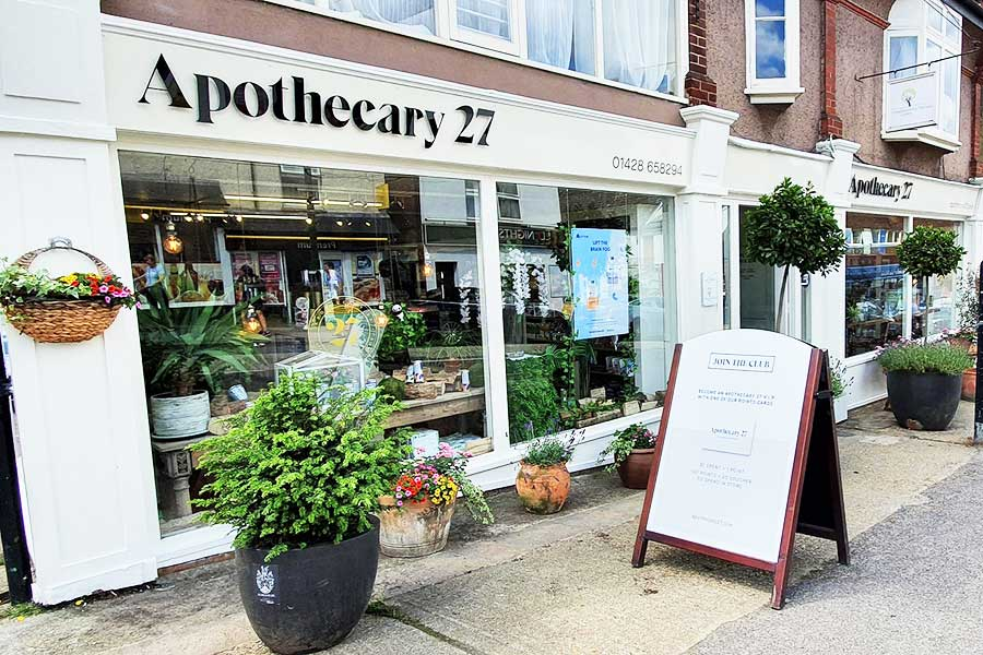 Shop fascia sign for Apothecary 27 in Haslemere by Bluedot Display