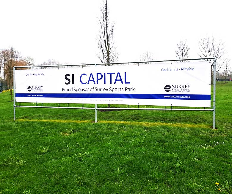 SI Capital PVC banner by Bluedot Display outside the Surrey Sports Park in Guildford
