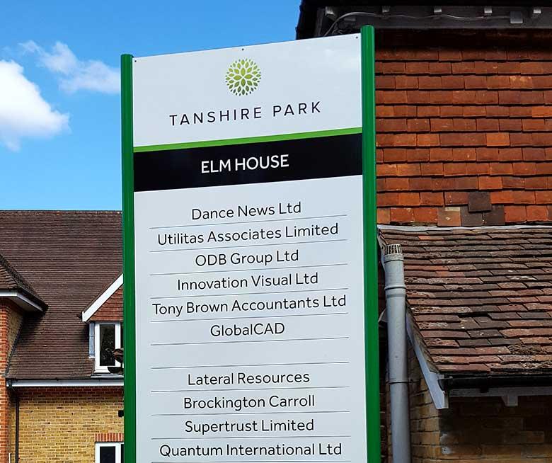 Aluminium Dibond signs at Tanshire Park in Godalming by Bluedot Display