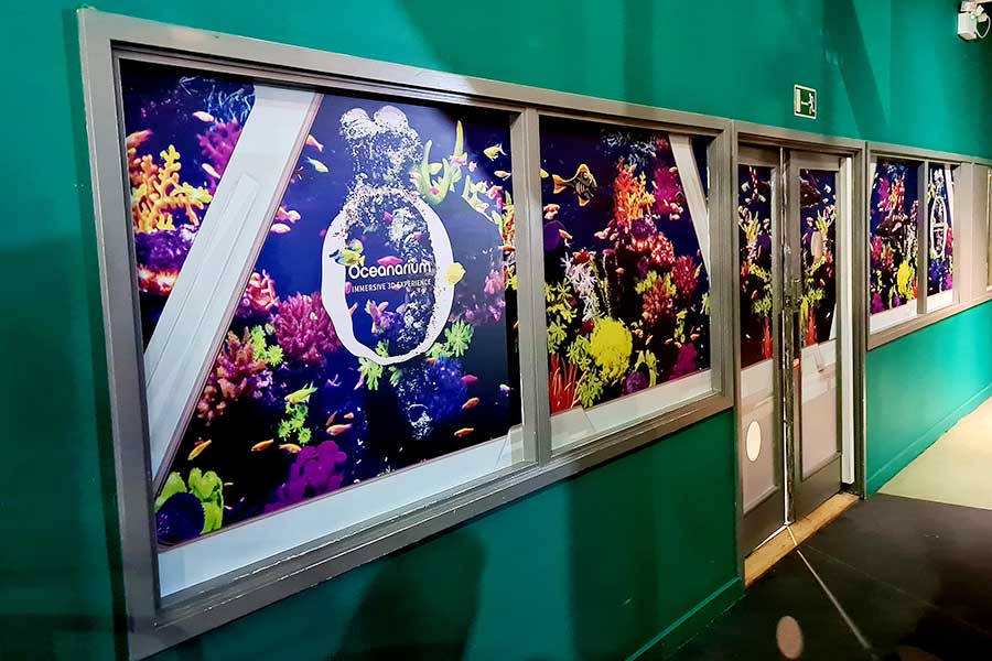 Vinyl window graphics by Bluedot Display for the Interactive Aquarium at Kidspace Romford