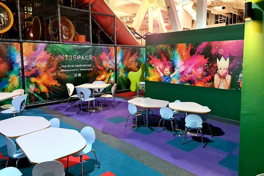 We gave the café at Kidspace in Romford a complete makeover with giant digitally printed vinyl wall graphics
