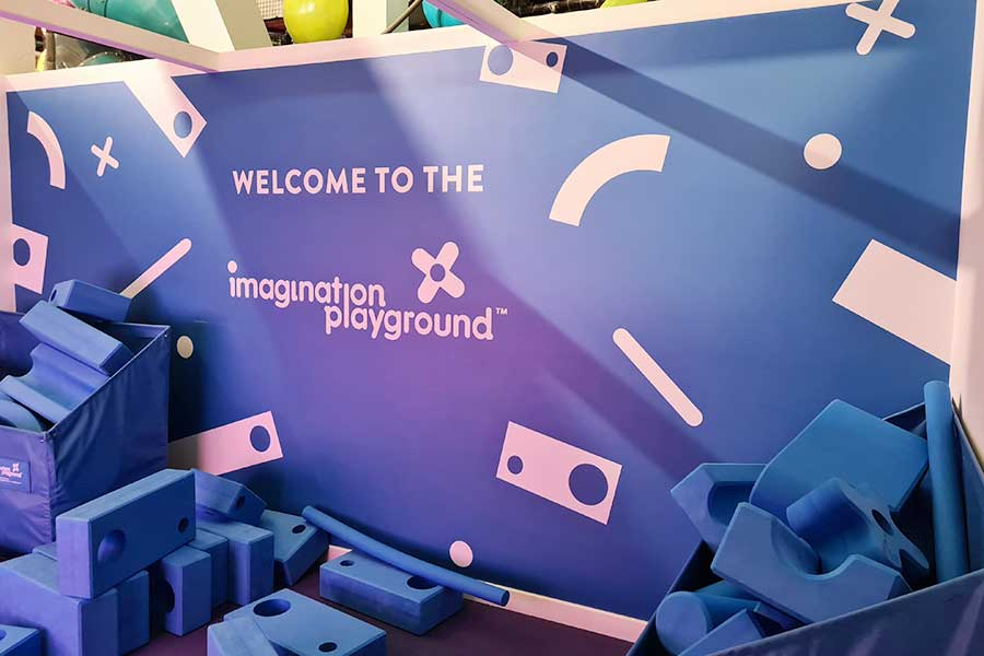 Digitally printed vinyl wallpaper created for the interactive play area at Kidspace Romford